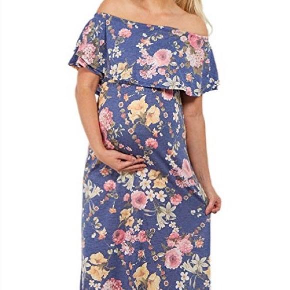 df1fda8fad9 PinkBlush Maternity Floral off shoulder maxi dress